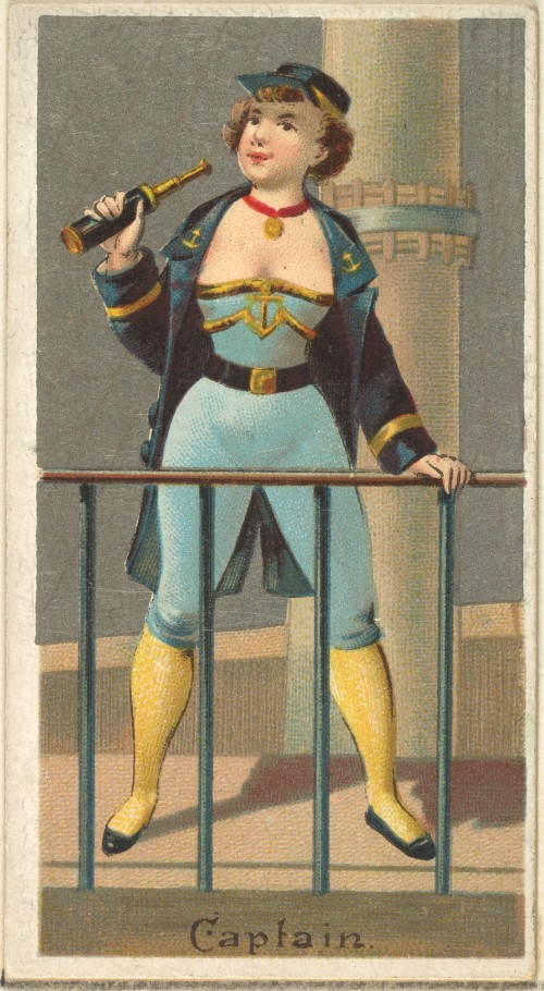 Captain Occupations of Women Series Trading Card Old Judge and Dogs Head Cigarettes 1887