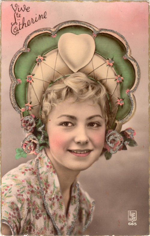 An old French magazine ad featuring woman in a colorful hat