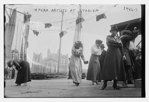 Opera singers rehearsing at Lewisohn Stadium in New York City, 1916